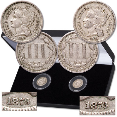 Image for 1873 Closed 3 & Open 3 Nickel Three-Cent Piece Set from Littleton Coin Company