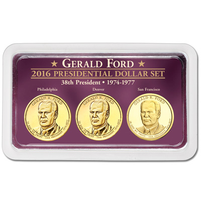 Image for 2016 Gerald R. Ford Presidential Dollars in Exclusive PDS Showpak from Littleton Coin Company
