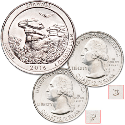 Image for 2016 P&D Shawnee National Forest Quarter Set from Littleton Coin Company