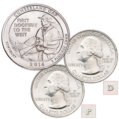 Image for 2016 P&D Cumberland Gap National Historical Park Quarter Set from Littleton Coin Company