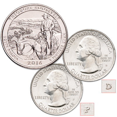 Image for 2016 P&D Theodore Roosevelt National Park Quarter Set from Littleton Coin Company