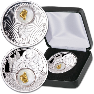 Image for 2016 Niue 1 oz. Silver $5 California Gold Rush from Littleton Coin Company