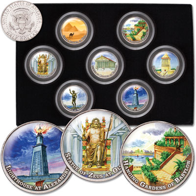 Image for Colorized Kennedy Half Dollars - Seven Wonders of the Ancient World from Littleton Coin Company