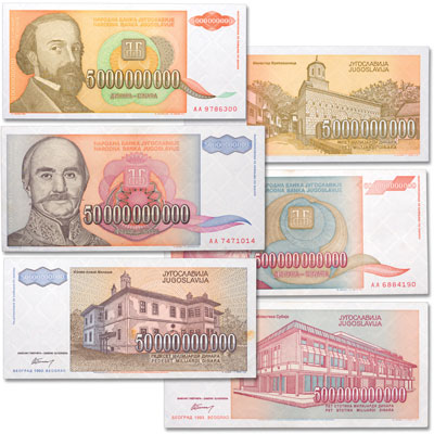 Image for 1993 Yugoslavia Inflation Set from Littleton Coin Company