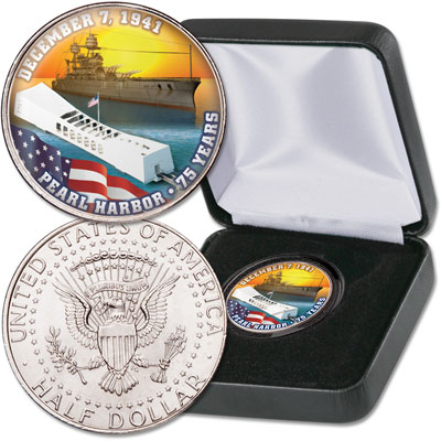 Image for Colorized Kennedy Half Dollar Pearl Harbor from Littleton Coin Company