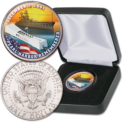 Image for Colorized Pearl Harbor Kennedy Half Dollar from Littleton Coin Company