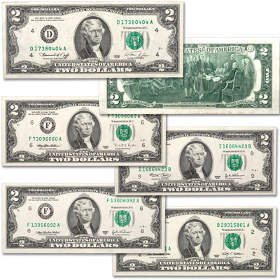 Image for 1976-2009 Complete $2 Federal Reserve Note Signature Set from Littleton Coin Company