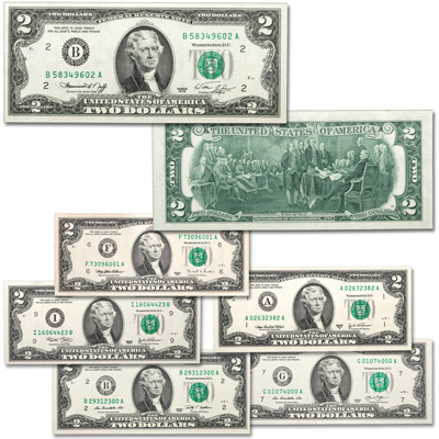Image for 1976-2013 $2 Federal Reserve Note Signature Set from Littleton Coin Company