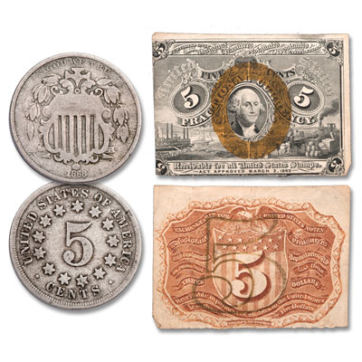 Image for 1860s Shield Nickel and 5¢ Fractional Note Set from Littleton Coin Company