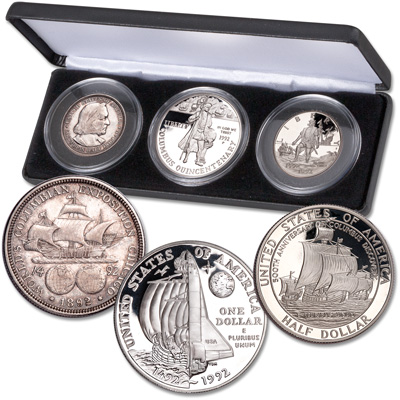 Image for 1892-1992 Columbus Commemorative Set in Display Case from Littleton Coin Company