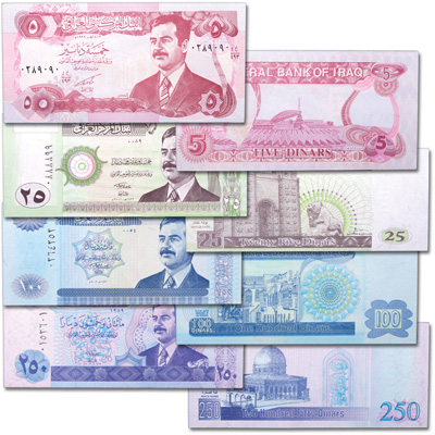 Image for 1992-2002 Iraq Saddam Hussein Bank Note Set from Littleton Coin Company