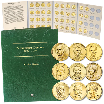Image for 2007-2016 Complete Presidential Dollar Set with Folder from Littleton Coin Company