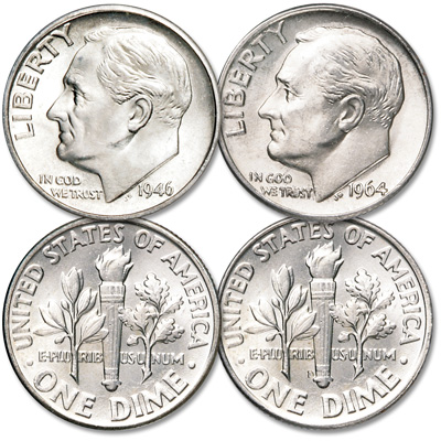 Image for 1946 & 1964 Roosevelt Silver Dime Set from Littleton Coin Company