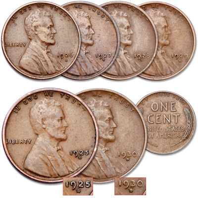 Image for 1925-1930 Consecutively Dated Denver Mint Lincoln Cent Set from Littleton Coin Company