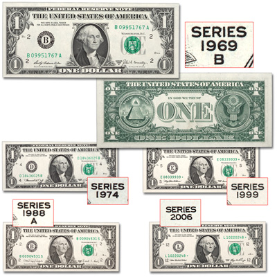 Image for 1960s-2000s $1 Federal Reserve Note Decade Set from Littleton Coin Company