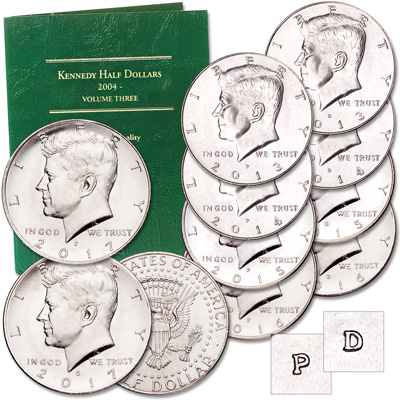 Image for 2013-2017 P&D Kennedy Half Dollar Set with Folder from Littleton Coin Company