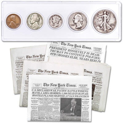 Image for 1941 Year Set with WWII Newspaper Reprints from Littleton Coin Company