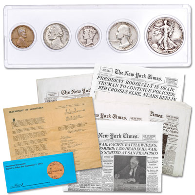 Image for 1941 WWII Year Set with Newspaper Reprints and Instrument of Surrender Replica from Littleton Coin Company