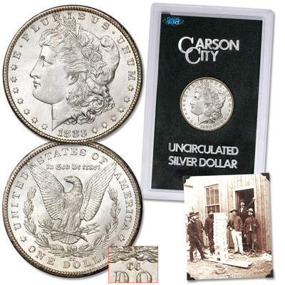 Image for 1883-CC Morgan Dollar with Old-Time Photograph from Littleton Coin Company