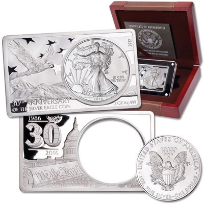 Image for 2016 Silver American Eagle in 2 oz. 30th Anniversary Silver Bar from Littleton Coin Company