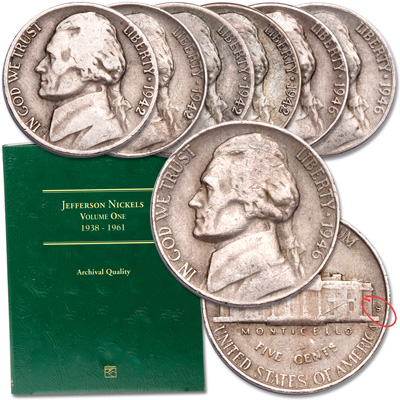 Image for 1942-1946 Jefferson Nickel WWII Transition Set with Folder from Littleton Coin Company