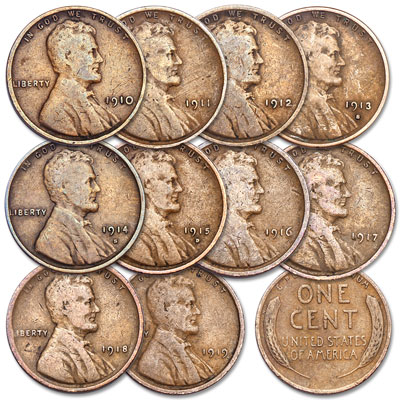 Image for 1910-1919 Lincoln Wheaties Cent Year Set from Littleton Coin Company