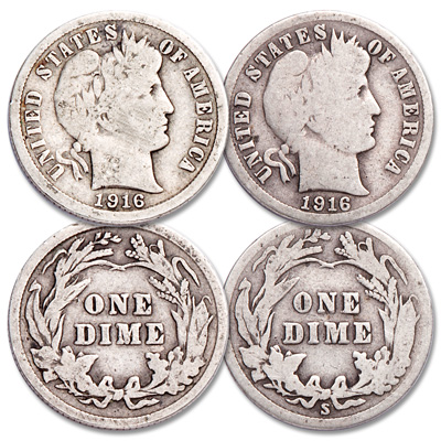 Image for 1916 P&S Barber Silver Dime Set from Littleton Coin Company