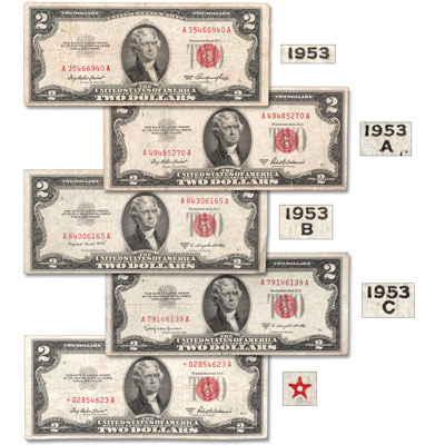 Image for 1953 $2 Legal Tender Note Signature Set with Star Note from Littleton Coin Company