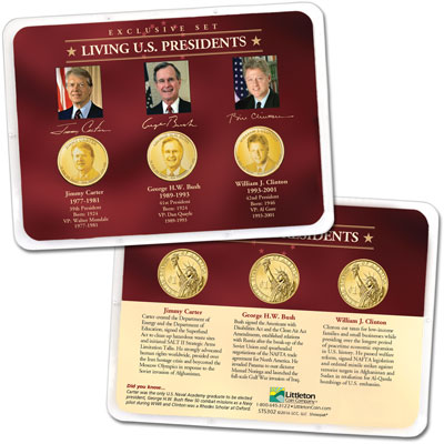 "Image for ""Golden"" Colorized Living Presidents Set in Showpak from Littleton Coin Company"