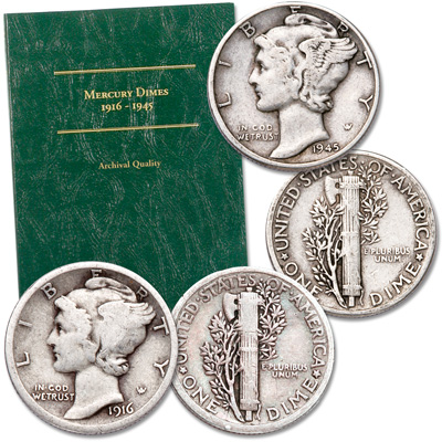 Image for 1916 & 1945 Mercury Dime First and Last Set from Littleton Coin Company