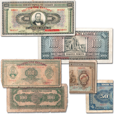 Image for 1926-1928 Greece Bank Note Set from Littleton Coin Company