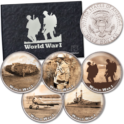 Image for World War I Colorized Kennedy Half Dollar Set from Littleton Coin Company