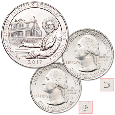 Image for 2017 P&D Frederick Douglass National Historic Site Quarter Set from Littleton Coin Company