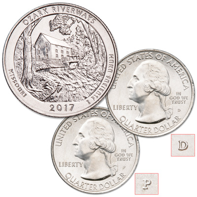 Image for 2017 P&D Ozark National Scenic Riverways Quarter Set from Littleton Coin Company