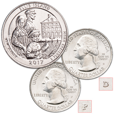Image for 2017 P&D Ellis Island National Monument (Statue of Liberty) Quarter Set from Littleton Coin Company