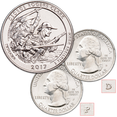 Image for 2017 P&D George Rogers Clark National Historical Park Quarter Set from Littleton Coin Company