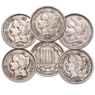 Image for 1865-1869 Nickel 3 Cent Piece Set from Littleton Coin Company