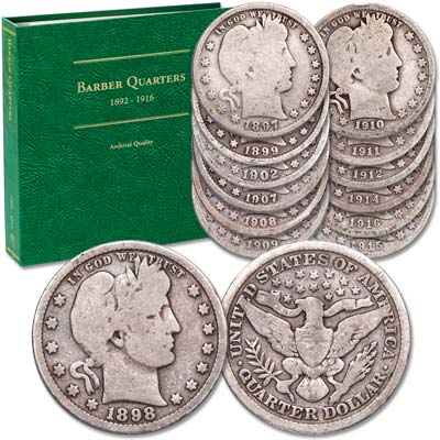 Image for 1897-1916 Silver Barber Quarter Set with Album from Littleton Coin Company
