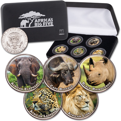 Image for Colorized Kennedy Half Dollar Africa's Big Five Set from Littleton Coin Company