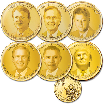 "Image for Golden Hue Colorized ""Modern Presidents"" Dollar Set from Littleton Coin Company"