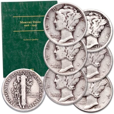 Image for 1940-1945 Mercury Dime Set with Folder from Littleton Coin Company