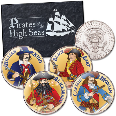 Image for Colorized Pirates of the High Seas Kennedy Half Dollar Set from Littleton Coin Company