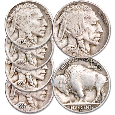 "Image for 1934-1938 ""D"" Mint Buffalo Nickel Set from Littleton Coin Company"