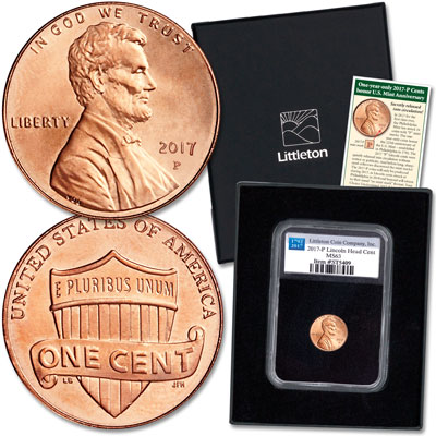 Image for 2017-P Lincoln Cent in Anniversary Holder from Littleton Coin Company