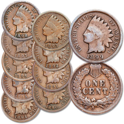 Image for 1890-1899 Complete Indian Head Cent Decade Set from Littleton Coin Company