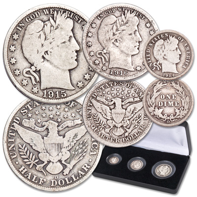 Image for 1914-1916 Last Year Denver Mint Barber Type Set with Case from Littleton Coin Company
