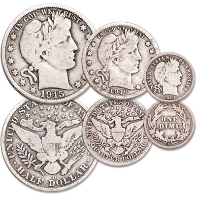 Image for 1914-1916 Last Year Denver Mint Barber Type Set from Littleton Coin Company