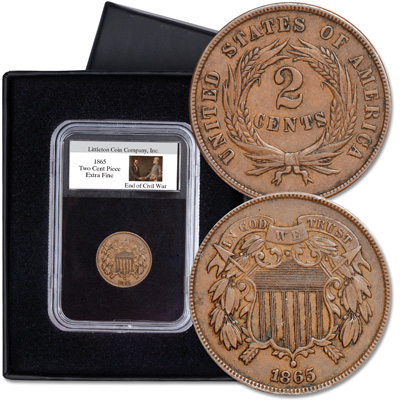 Image for 1865 Two Cent Piece in Display Holder from Littleton Coin Company