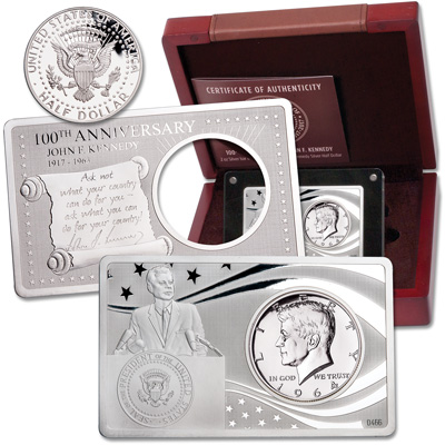 Image for 1964 Kennedy Half Dollar in 2 oz. 100th Anniversary Silver Bar from Littleton Coin Company