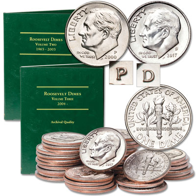 Image for 2000-2017 P&D Roosevelt Dime Set with Folders from Littleton Coin Company